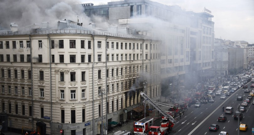 Александр Санкин рассказал телеканалу Москва 24 о здании на Тверской, которое пострадало от пожара.